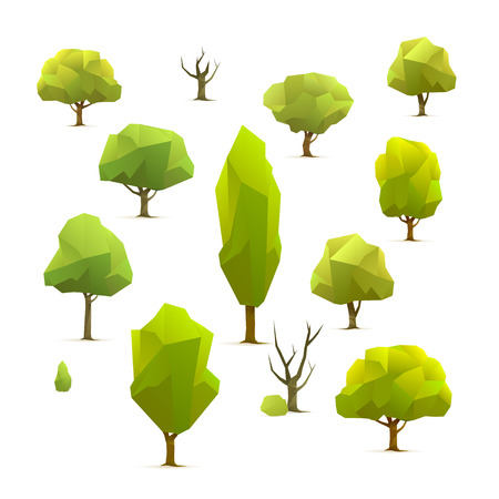 set of polygonal geometric trees, illustration Ilustração