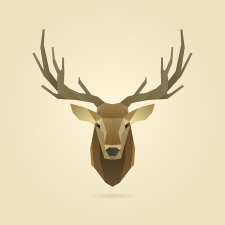 deer head portrait, polygon illustration
