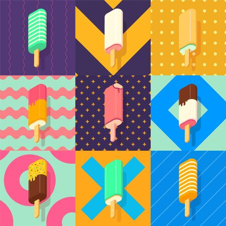 ice lolly: ice lolly set with colorful patterns