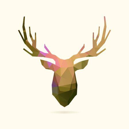 stag horn: deer head, polygon portrait illustration