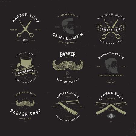 old  fashioned: barber shop old fashioned set invert Illustration
