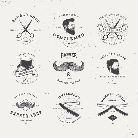 beard man: barber shop old fashioned set Illustration