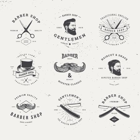 old fashioned: barber shop old fashioned set Illustration