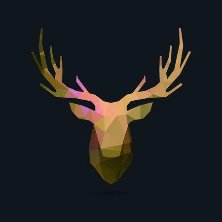 venado: cabeza de ciervo, polígono invertido ilustración retrato Vectores
