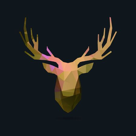 deer head, polygon invert portrait illustration