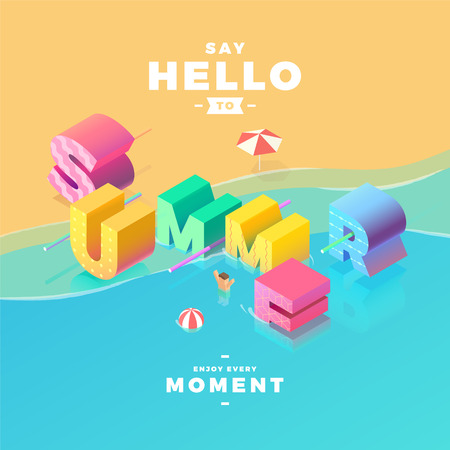 summer sign: say hello to summer sign in sea, isometric illustration Illustration