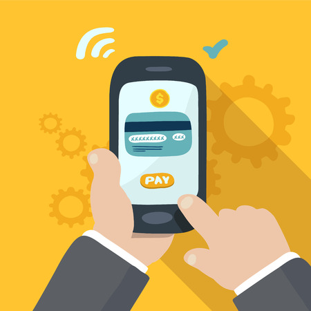 hand holding phone: mobile payment, hand holding phone, doodle illustration Illustration