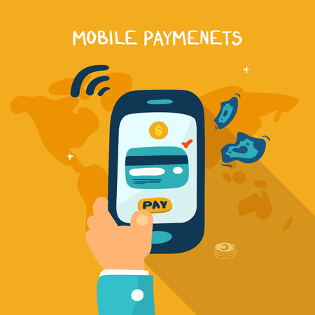 wireless telephone: Mobile payment concept. Man holding phone