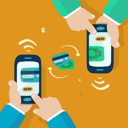 money transfer: mobile money transfer, doodle illustration