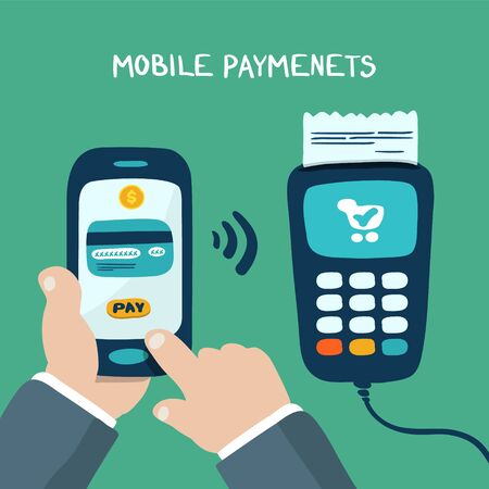 mobile banking: Mobile payments using smartphone, terminal and credit card, near field communication technology, online banking. doodle design vector.