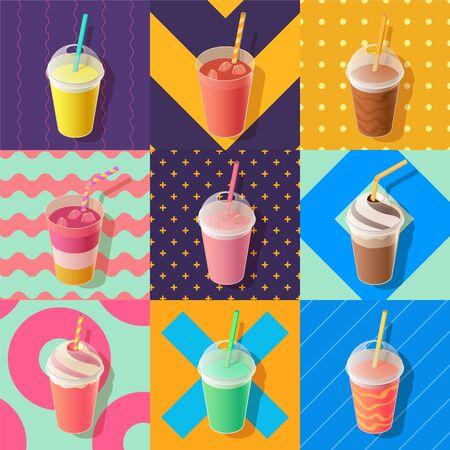 coffee berry: milkshake or smoothie take away cups, isometric illustration