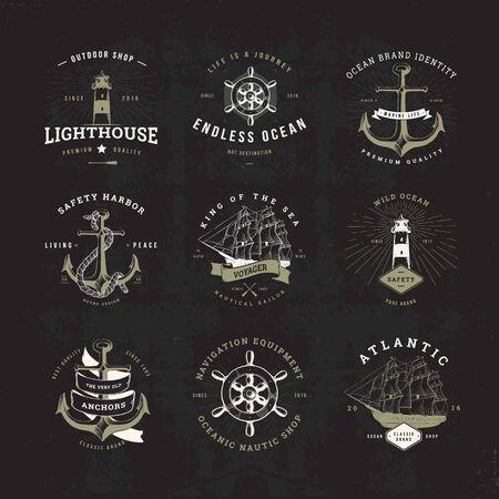 Set of Invert Vintage Nautical Typographical Logos Vettoriali