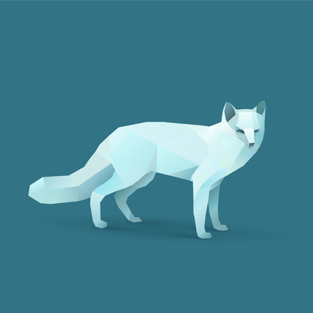 Polygon Illustration of Polar Fox
