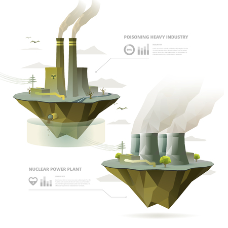 Heavy Industry Factory and Nuclear Power Plant with infographic