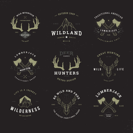 wildlife hunters, hipster invert logo set with deer antlers, axe and mountains