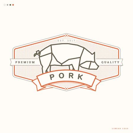 豚肉線形ロゴ、肉屋ビンテージ バッジ 写真素材 - 73169709