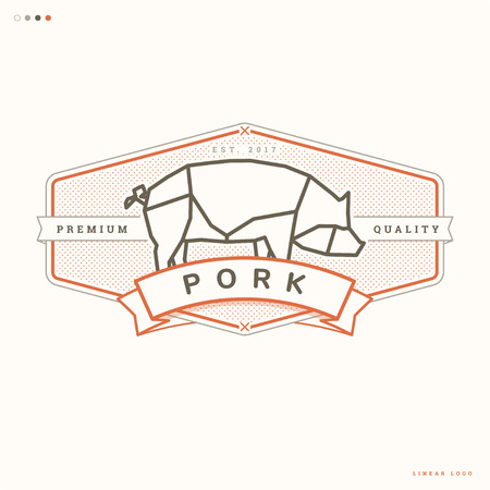 pork linear logo, butcher vintage badge