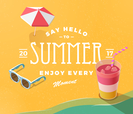 Summer vacation template with beach summer accessories, drink and sunglasses, vector illustration