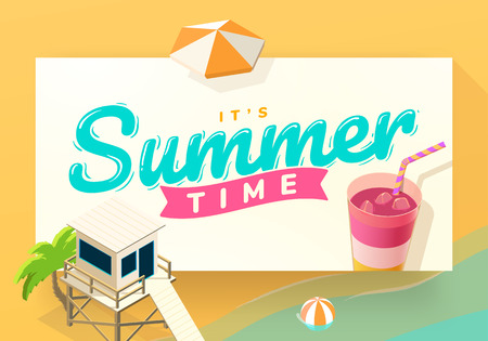 Summer vacation template on beach, with drink, lifeguard and palm, vector illustration