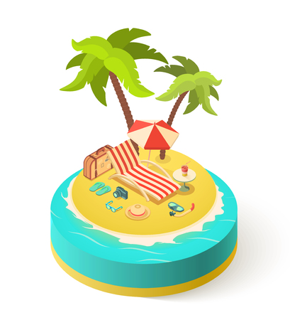 Summer isometric island, vacation with Holidays accessories