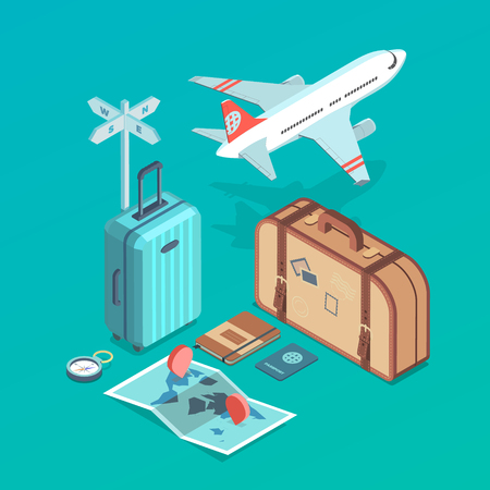 Isometric icon illustrations of traveling, plane,  passanger luggage, tourist and journey objects Illustration