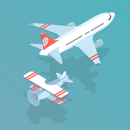 Airplane and biplane isometric vector illustration