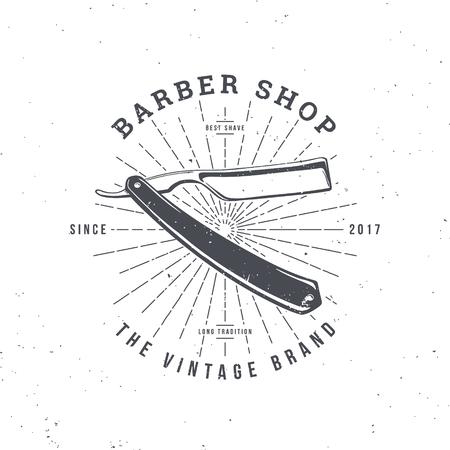 Barber Shop logo with Razor, vintage badge