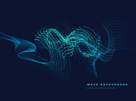 Abstract Background with Dynamic curved Particle wave