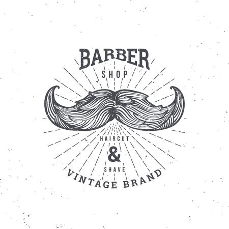 Barber Shop logo with Moustache, vintage badge