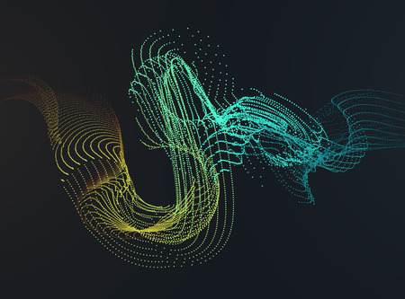 Abstract Background with Dynamic Particle colorful wave