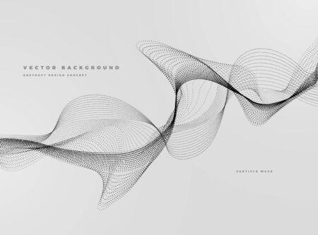 動的粒子水の波、黒と白と抽象的な背景