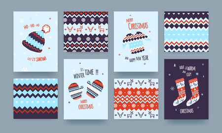 new years: Set of Cute Illustrated Christmas Card with Winter Hat, Socks and Sweater, Christmas patterns, Blue Colors.