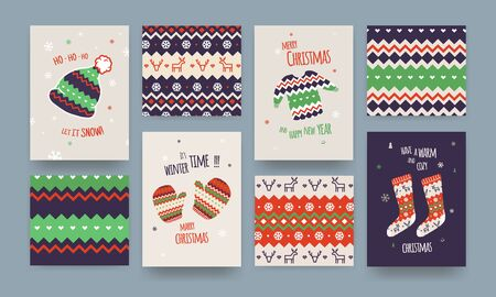 Set of Cute Illustrated Christmas Card with Winter Hat, Socks and Sweater, Christmas patterns, Classic Colors. Çizim
