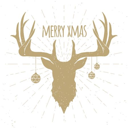 Hipster Vintage Christmas Deer, Gold Silhouette on White Background. Ilustrace
