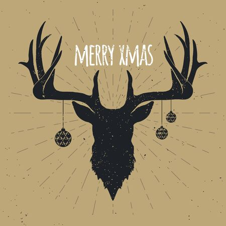 レトロなヴィンテージ クリスマス鹿、ゴールドの背景に黒のシルエット。  イラスト・ベクター素材