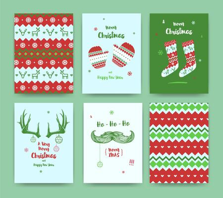 Merry Christmas greeting card set with socks, winter gloves, mustache and horns, classic colors.