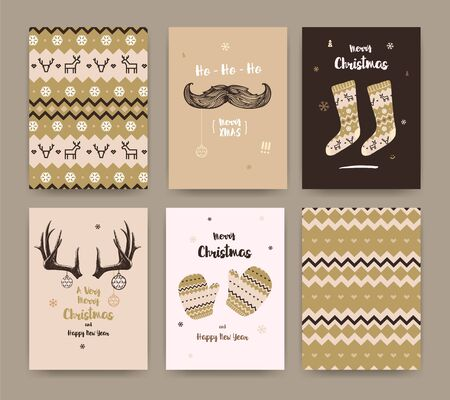 Merry Christmas greeting card set with socks, winter gloves, mustache and horns, golden colors.