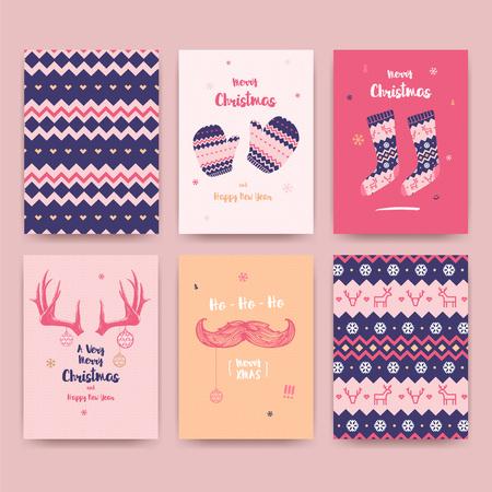 メリー クリスマス グリーティング カードがかわいい靴下、冬の手袋とビンテージの口ひげ、角とクリスマスのパターンを設定します。