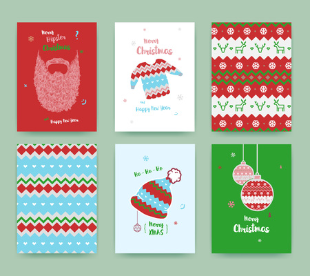 Merry Christmas greeting card set with cute winter hat, sweater, vintage beard , Christmas balls and Christmas patterns, classic colors. Ilustrace