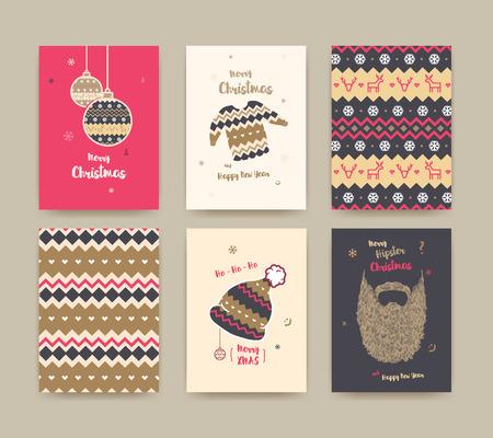 メリー クリスマスのグリーティング カードは、かわいい冬の帽子、セーター、ビンテージのひげ、クリスマス ボール、クリスマスのパターン、黄