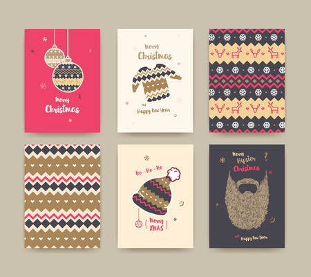 Merry Christmas greeting card set with cute winter hat, sweater, vintage beard , Christmas balls and Christmas patterns, golden colors.