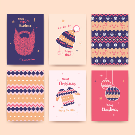 Merry Christmas greeting card set with cute winter hat, sweater, vintage beard , Christmas balls and Christmas patterns.