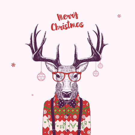 Christmas Card with Nerd Hipster Deer, Vector Illustration.