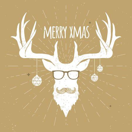 流行に敏感なビンテージ クリスマス鹿、髭と眼鏡と白いシルエット。