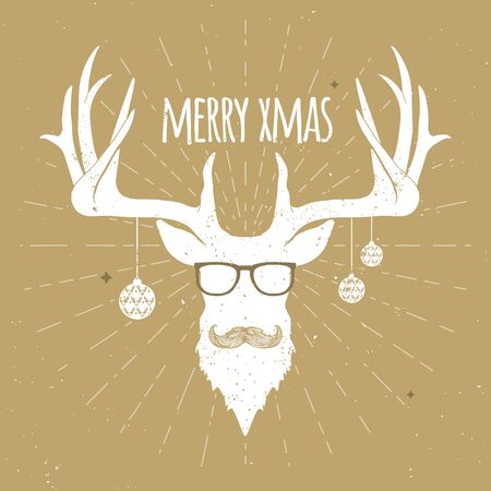 Hipster Vintage Christmas Deer, White Silhouette with Mustache and Eyeglasses.