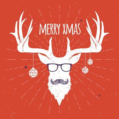 ヒップスター ヴィンテージ クリスマスの鹿は、髭と眼鏡と赤の背景に白のシルエット。