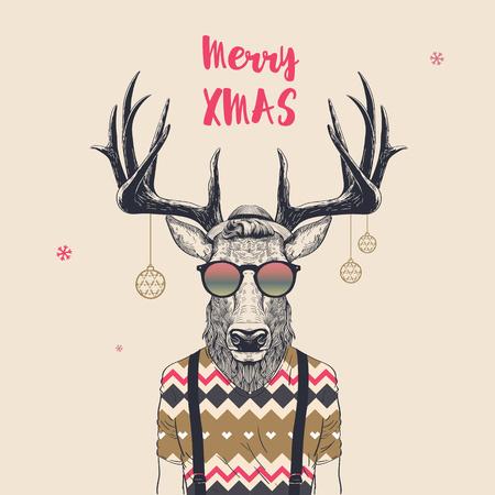 クールな流行に敏感な鹿、メリー クリスマス、ベクトル イラストのクリスマス カード。