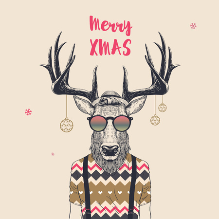 Christmas Card with Cool Hipster Deer, Merry Xmas, Vector Illustration. Illustration