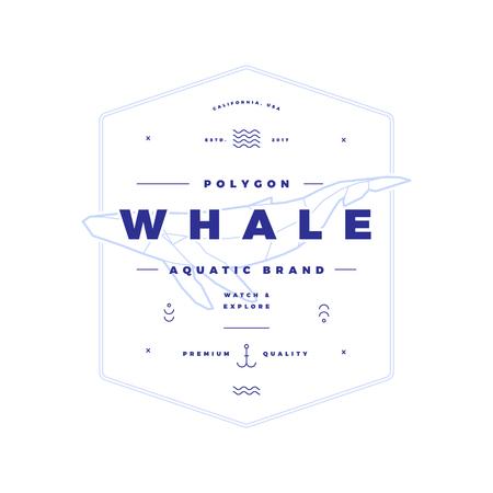 多角形のクジラ ビンテージ ホワイト バッジ  イラスト・ベクター素材