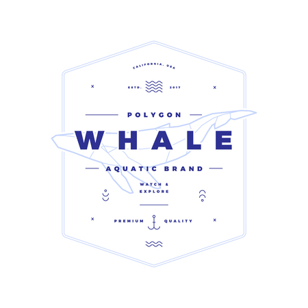 Polygonal Whale Vintage Badge on White Ilustrace